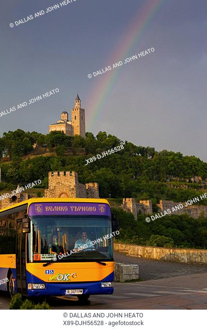 Bulgaria, Europe, Veliko Tarnovo, Fortress of Tsarevets, Church of the Blessed Saviour, Stormy, Bus, Rainbow