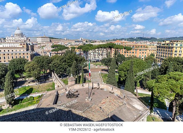 St Peter's Basilica seen from Castel Sant'Angelo, Rome, Lazio, Italy, Europe