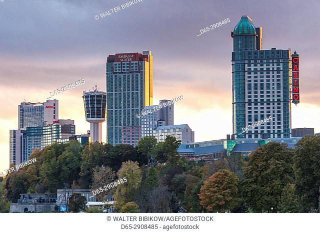 Canada, Ontario, Niagara Falls, hotels by the falls, sunset