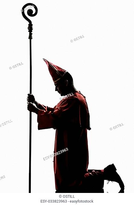 one man cardinal bishop silhouette in studio isolated on white background