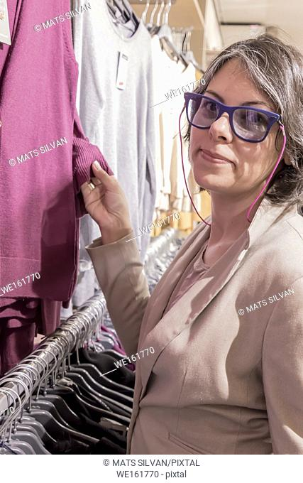 Woman in a Clothes Store