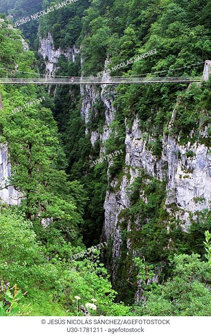 Hiker walking on the footbridge, 180 metres over Gorges d'Holzarte, near Larrau village, Atlantics Pyrenees, in Aquitaine region  France