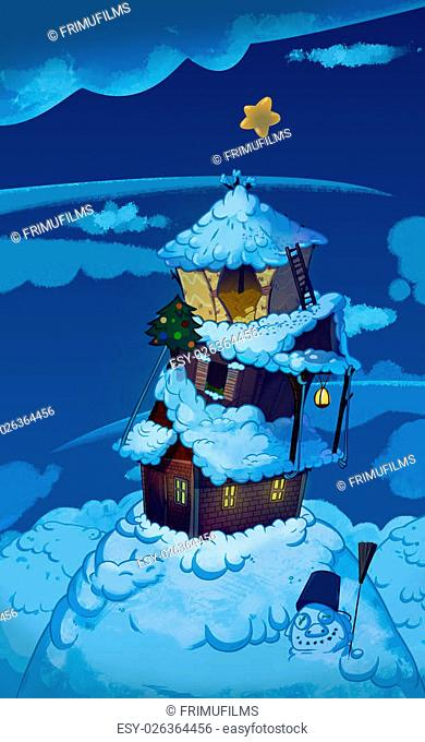 Three Houses one on top of another. Brick house, wooden house and straw house. Winter night fairy tale background image. Cartoon raster illustration