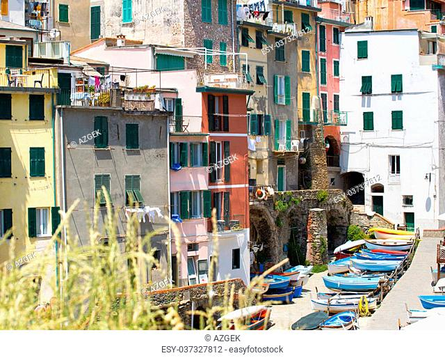 view on the houses riomaggiore, italy