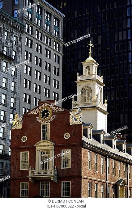 Massachusetts, Boston, Old State House in downtown district