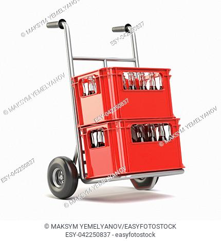 Bottles with soda or cola in the red strage crate for bottles on hand track. Drink sales and delivery concept 3d illustration