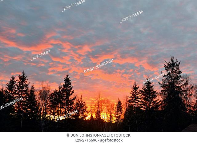 Sunset skies, Greater Sudbury, Ontario, Canada