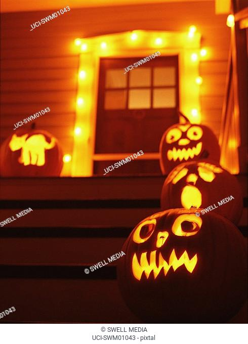 Jack-o-lanterns on doorsteps