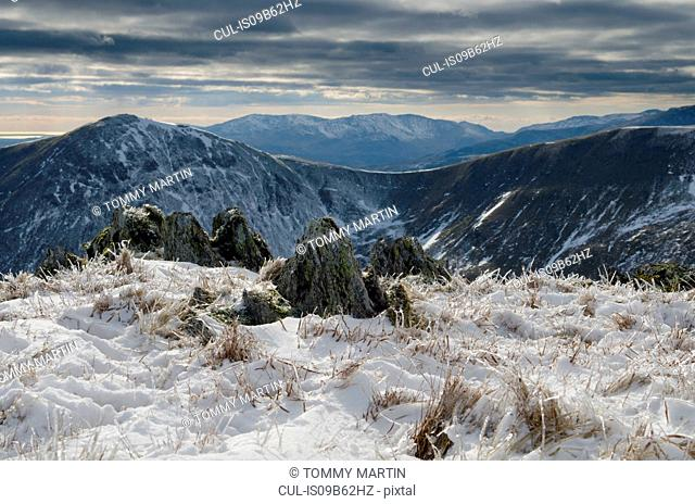 Snow on High Street summit, above Haweswater, The Lake District, UK