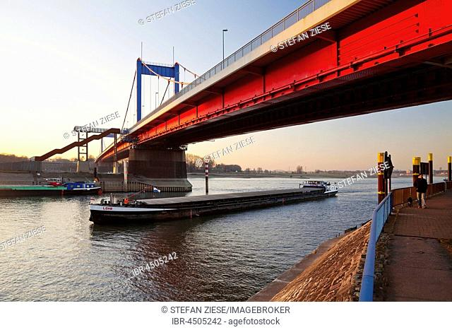 The Friedrich Ebert Bridge over the Rhine, Ruhrort, Duisburg, Ruhr district, North Rhine-Westphalia. Germany