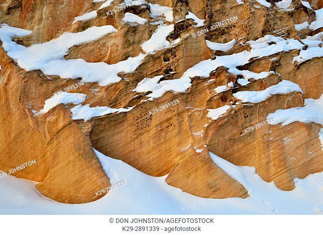 Snow dusted canyon walls in the Capitol Gorge, Capitol Reef National Park, Utah