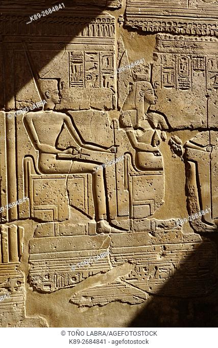Pharaonic relief. Luxor Temple. Luxor. Upper Egypt