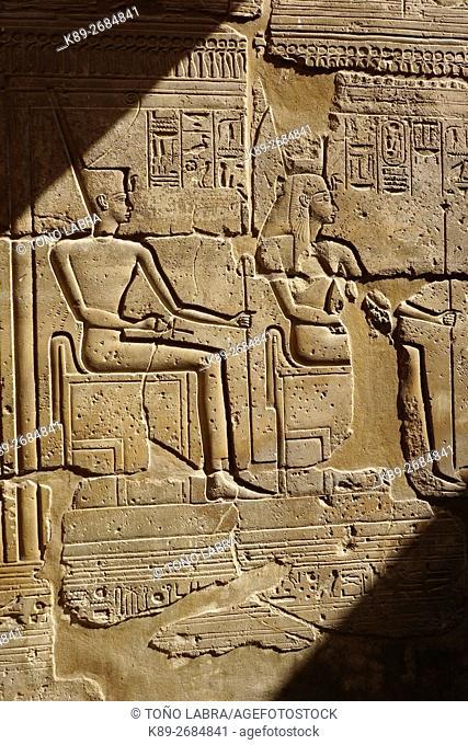Pharaonic relief. Luxor Temple. Luxor. Upper Egypt