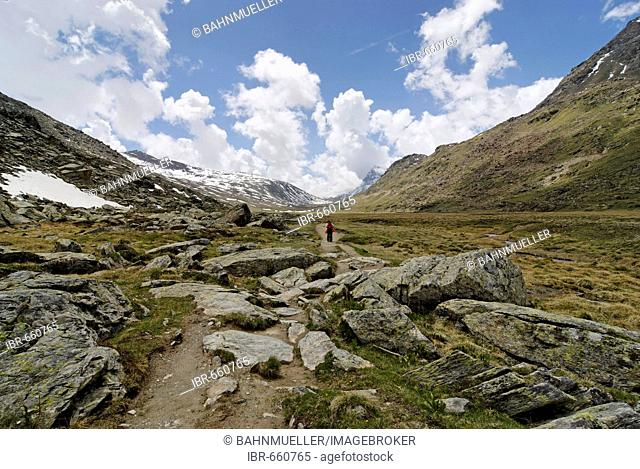 Gran Paradiso National Park between Piemonte Piedmont and Aosta valley Italy Garian Alps at the old path to the Val Salvarenche at the high plateau Plan di...
