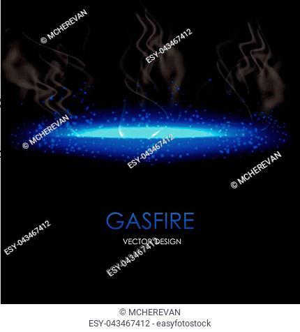 Abstract blue light gasfire flash element on dark transparent background. Vector illustration
