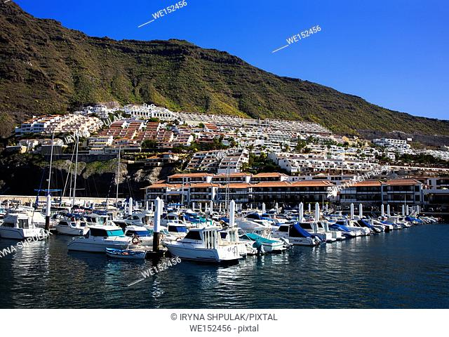 Boats in the port of Los Gigantes, Island Tenerife, Canary Islands, Spain