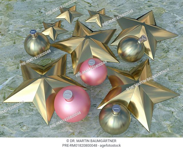 Christmas baubles and stars on marble, photo-realistic computer graphic / Christbaumkugeln und Sterne auf Marmor, fotorealistische Computergrafik