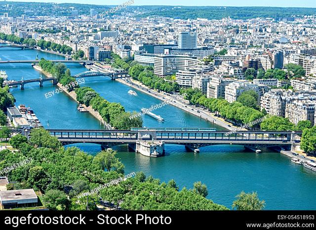 view of Paris from the top of the Eiffel Tower. capital of France in summer