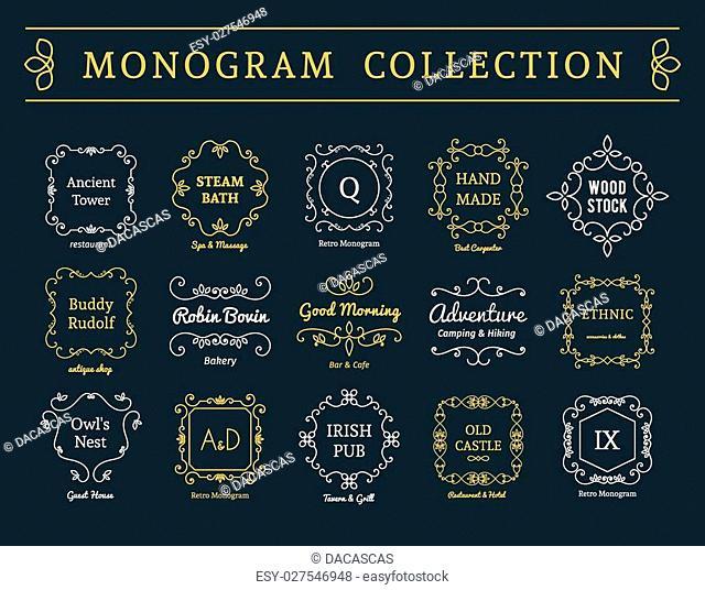 Vintage monogram set. Vector emblems for calligraphic luxury logos and retro ornamental design
