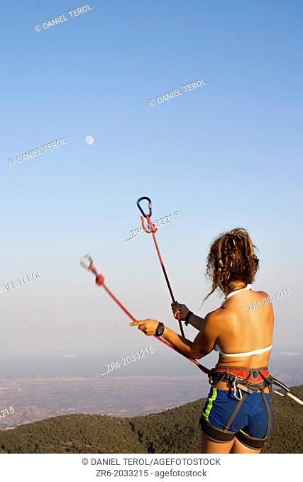 Juggling with the moon, Alicante, Spain