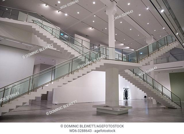 The staircases inside the Berlinische Galerie in Berlin, Germany