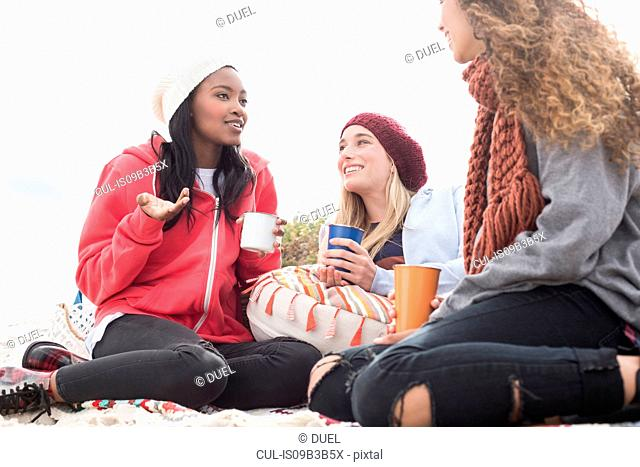 Three young women chatting on beach picnic, Western Cape, South Africa