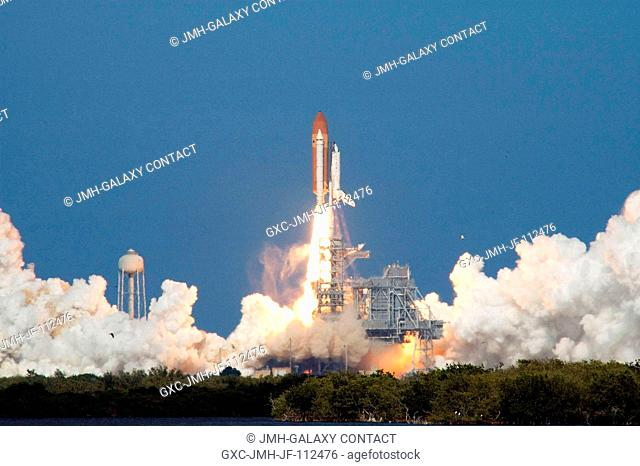 The Space Shuttle Discovery and its seven-member STS-124 crew head toward Earth-orbit and a scheduled link-up with the International Space Station (ISS)