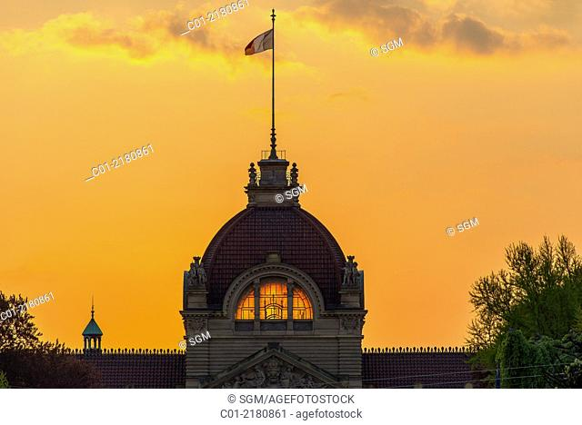 Palais du Rhin Palace of the Rhine dome at sunset Strasbourg Alsace France