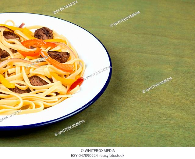 Italian Style Linguine Pasta With Sausage and Peppers Food