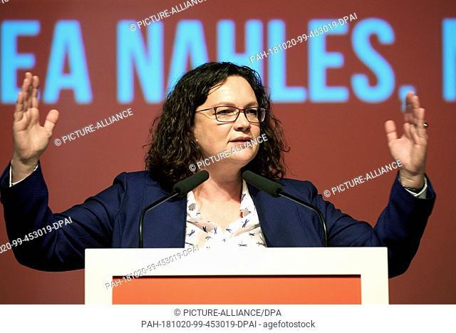 20 October 2018, Rhineland-Palatinate, Ochtendung: 20 October 2018, Germany, Ochtendung: Andrea Nahles, SPD federal chairwoman