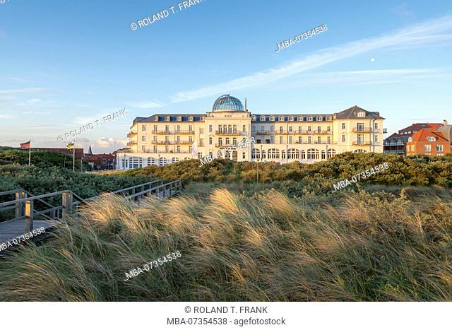 Germany, Lower Saxony, East Frisia, Juist, the historic Kurhaus, also called 'White Castle by the Sea', was opened on 1 July 1898 as a beach hotel 'Kurhaus...