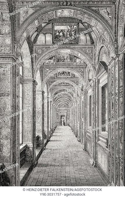The Vatican loggias, Vatican City, Rome, Italy, 19th Century