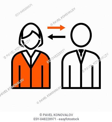 Corporate Interaction Icon. Thin Line With Orange Fill Design. Vector Illustration