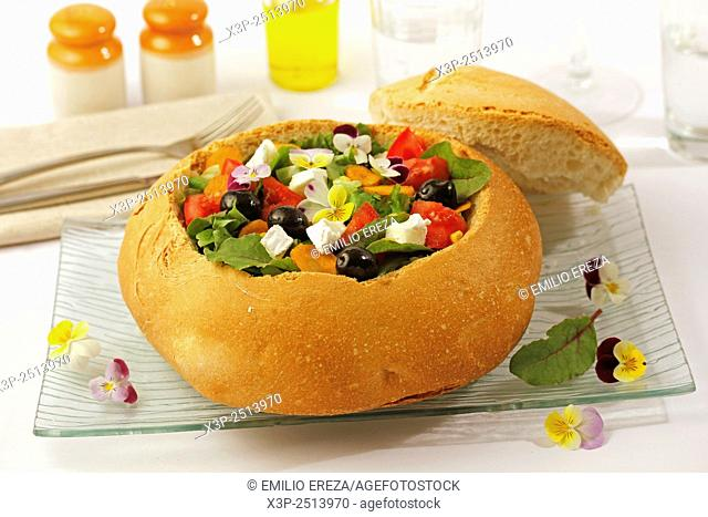 Salad in bread