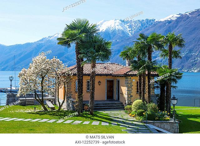 Lake Maggiore and the Swiss Alps; Ascona, Ticino, Switzerland