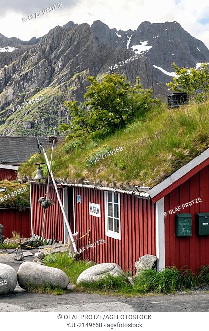 Folk museum with grass roof in the fishing village Napp at the Lofoten Island Flagstadoya, Norway