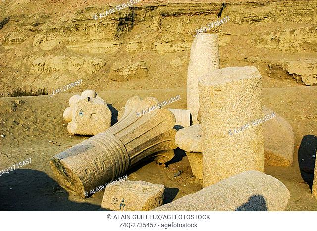 Egypt, Nile Delta, Tanis, the East temple, built by Ramses II and reused by Osorkon II : Palmiform columns, Old Kingdom period