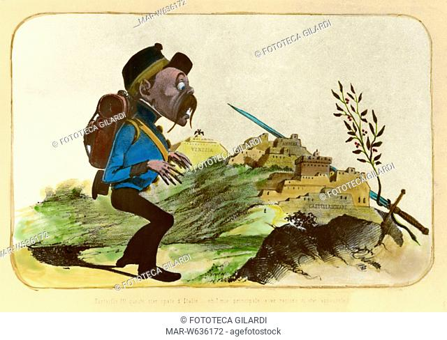 RISORGIMENTO Caricatura antiaustriaca sulla questione veneziana. Il soldato austriaco, vedendo una lama spuntare dietro le cittadine italiane arroccate esclama:...