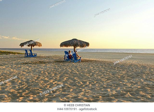 Mexico, North America, Baja, Baja California, Pescadero, Rancho, resort, beach, sand, umbrellas