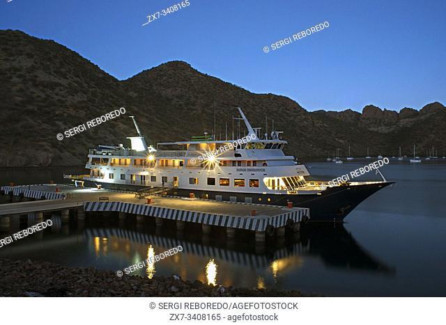 Safari Endeavour cruise anchored in Puerto Escondido in Sea of Cortes, Baja California Sur, Mexico