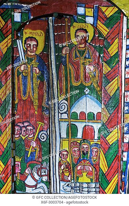 Representation of archangel Mikael (left) and archangel Raphael (right), canvas painting, orthodox rock-hewn church Mikael Mellehayzengi, Tsaeda Amba, Tigray