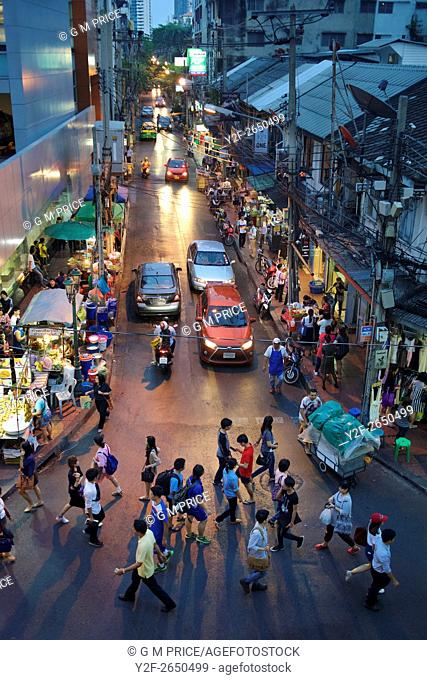 elevated view of busy street near Silom shopping centre, Bangkok