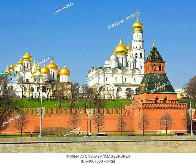 Moscow Kremlin with Arkhangelskiy and Announciation Cathedrals, Moscow, Russia