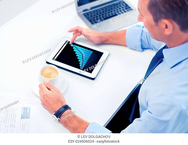 business, statistics, people and technology concept - businessman with chart on tablet pc drinking coffee in office