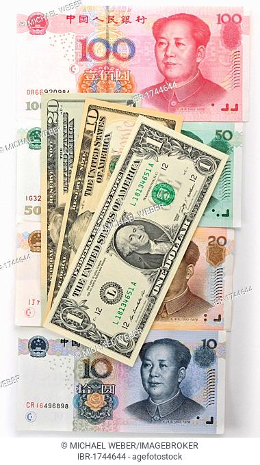 Chinese yuan, renminbi, the currency of the People's Republic of China, also known in the West as Yuán Kuai banknotes with U.S