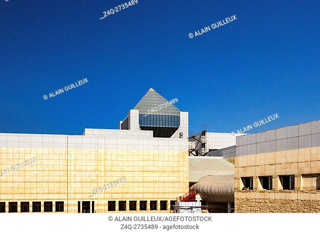 Egypt, Cairo, the National Museum of Egyptian Civilization, not yet inaugurated, in December 2015 : Main building, the pyramid on top will provide a panoramic...