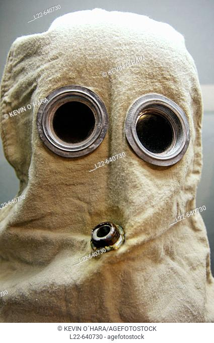 Gas mask, Ist World war. Canadian War Museum. City of Ottawa (federal capital). Ontario Province. Canada./