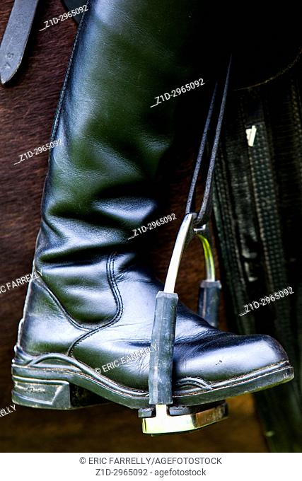 Horse riders boot sitting comfortably in stirrup