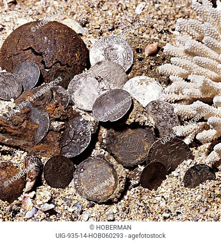Rare Spanish Coins on beach recovered from wreck from the Muirestein, off Cape Town, South Africa