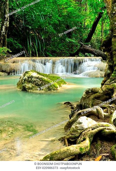 Tropical rain forest waterfall in Erawan National Park, Thailand